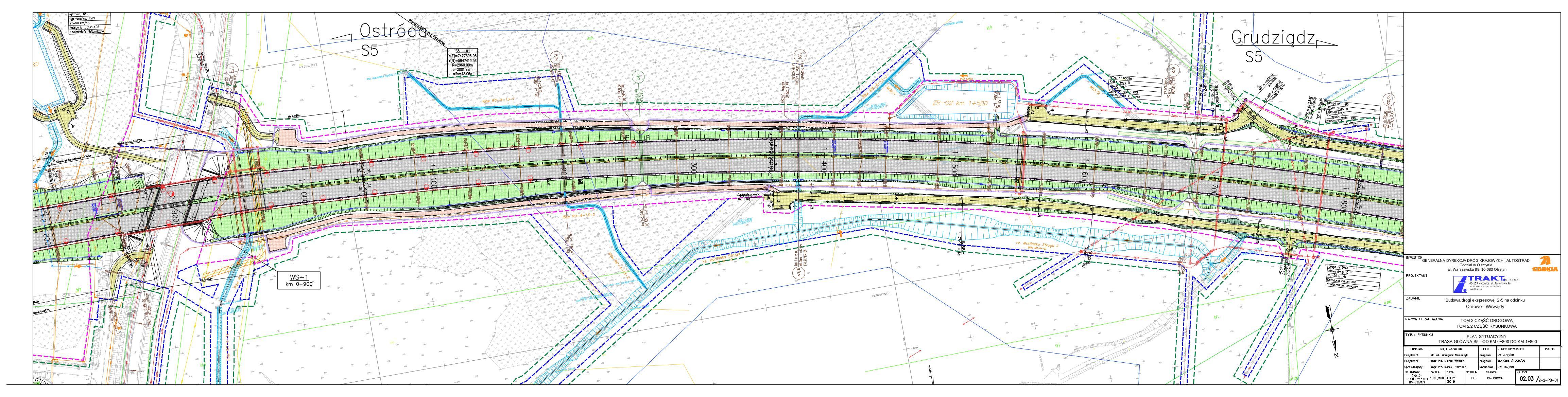 02.03 Plan sytuacyjny. Trasa główna S5 – od km 0+800 do km 1+800_20190219