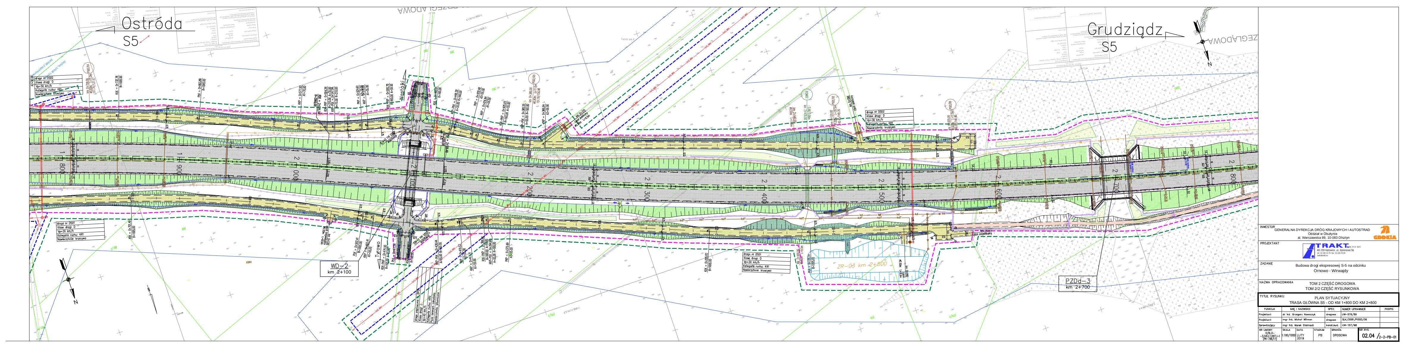02.04 Plan sytuacyjny. Trasa główna S5 – od km 1+800 do km 2+800_20190219