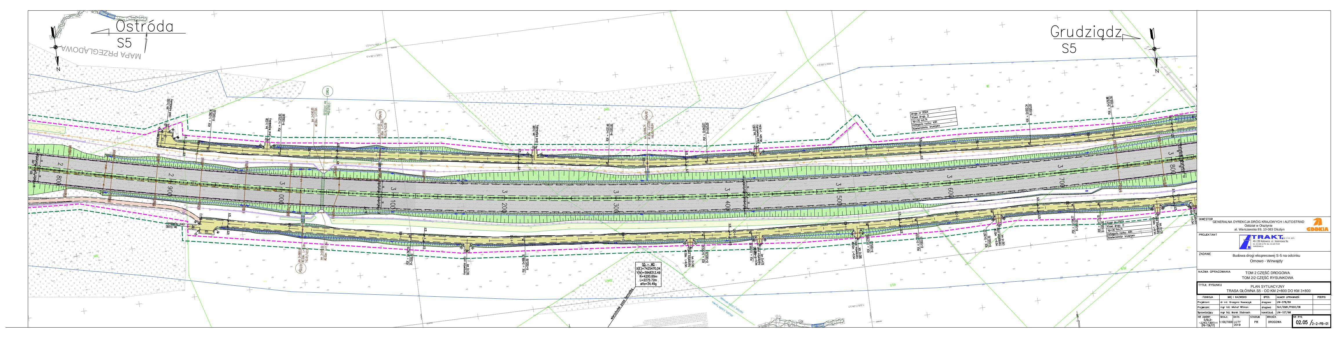 02.05 Plan sytuacyjny. Trasa główna S5 – od km 2+800 do km 3+800_20190219