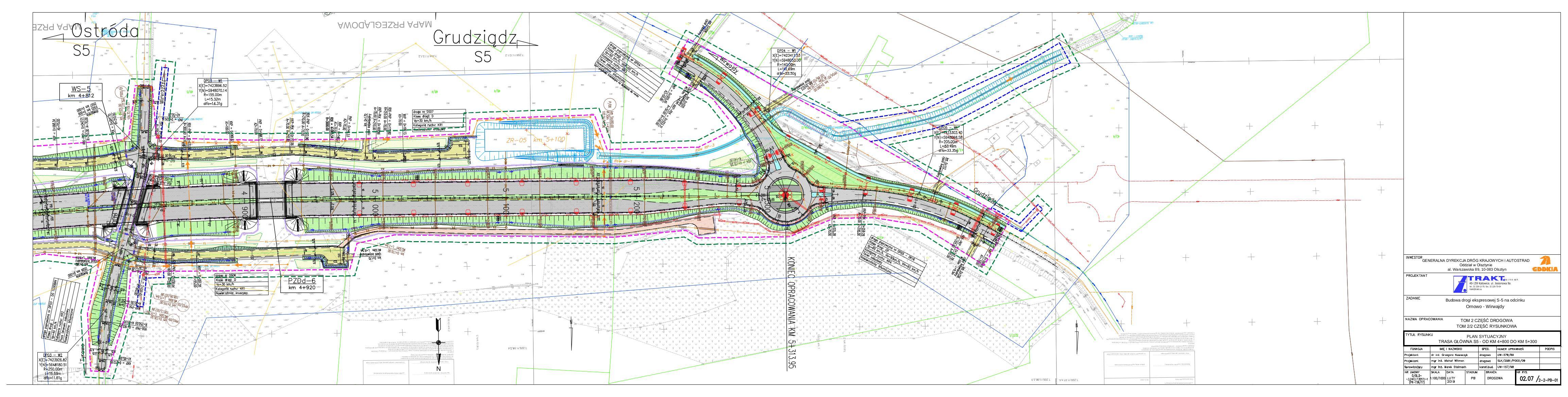 02.07 Plan sytuacyjny. Trasa główna S5 – od km 4+800 do km 5+300_20190219